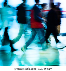 urban scene running business people crowd blur abstract background