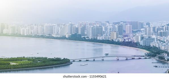 Urban scenery of sanya river in hainan, China