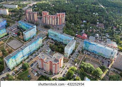 URBAN SETTLEMENT RAMENSKOYE, MOSCOW REGION, RUSSIA - AUG 30, 2015: Cityscape, top view, onto the street Chugunova