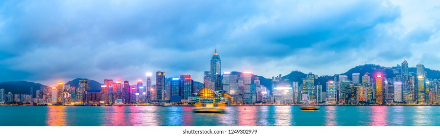 Urban Skyline and Architectural Landscape Nightscape in Hong Kon