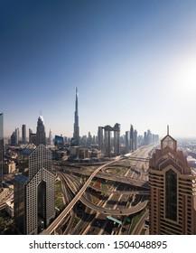 Urban skyline and cityscape in Dubai UAE.