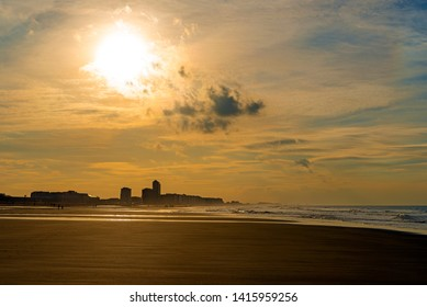 The urban skyline and cityscape of Ostend (Oostende in Dutch) with vintage style colors at sunset, West Flanders, Belgium.