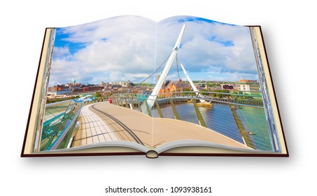 """Urban skyline of Derry city (also called Londonderry) in northern Ireland with the famous """"Peace Bridge"""" (Europe - Northern Ireland) - 3D render concept image of an opened photo book"""