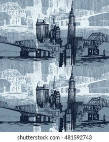 Urban skyline jeans pattern