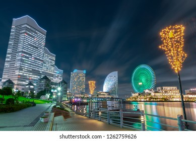 Urban skyline of Minato Mirai 21 area of Yokohama City at night in Kanagawa, Japan. Yokohama is the second largest city in Japan by population and most populous municipality.