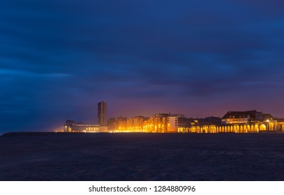 The urban skyline of Ostend at night, Belgium.