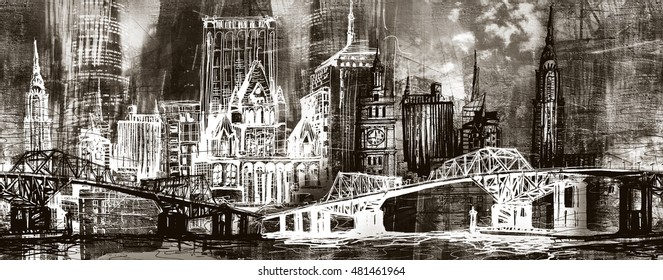 Urban skyline panorama illustration