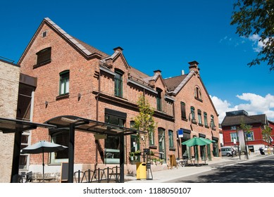 urban street with buildings in Lillehammer, Oppland, Norway