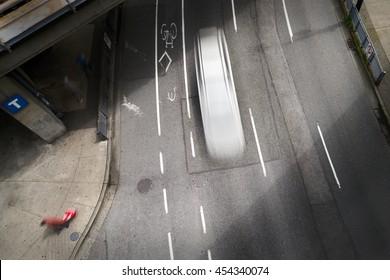 Urban Street Downtown. Overhead view of a big city, urban street. Slow shutter speed creates the motion blur.