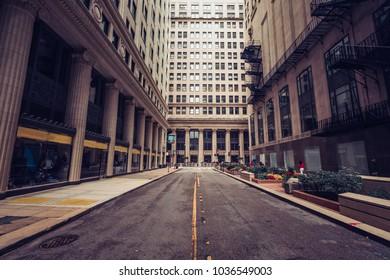 Urban street at dusk