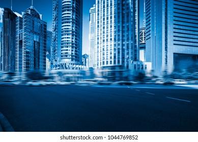 urban street scene,blue toned,shanghai,China.