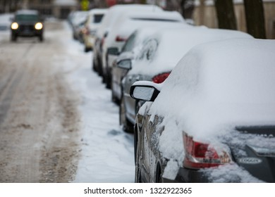 urban street in a snow storm