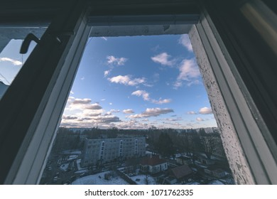 urban street view from above with wide angle lens. riga, latvia - vintage look retro