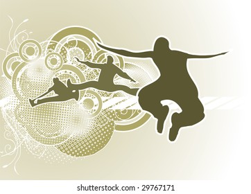 Urban style background with jumping people. Editable version in portfolio.