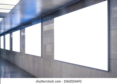 Urban Subway Underground Billboard Rectangular White Mockup City Advertisement