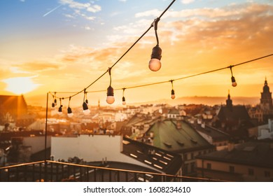 Urban sunset cityscape in Krakow, Poland