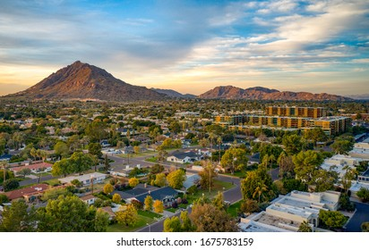 Urban sunset over downtown Scottsdale Arizona