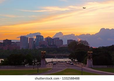 Urban sunset, Washington DC, USA. US capital city panorama new Potomac river at sunset.