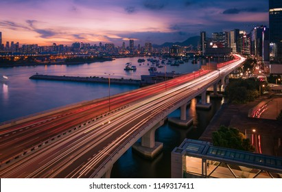 urban traffic with cityscape in Hong Kong Kowloon