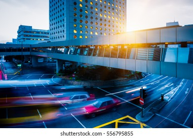 urban traffic with cityscape in Hong Kong,China.