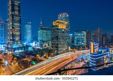urban traffic with cityscape in Shenzhen,China.