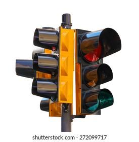Urban traffic light isolated on white background