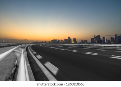 urban traffic road with cityscape in background, China