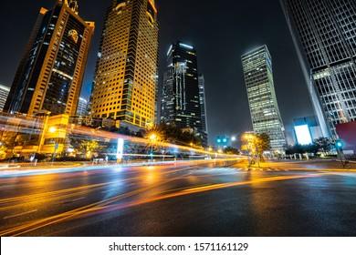 the urban traffic of shanghai at night