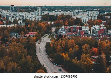 Urban view of Matinkylä in the autumn with color full trees and apartment houses, Espoo Finland