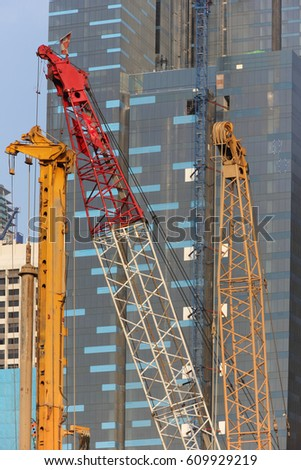 Urban View Construction Cranes Singapore Skyline Stock Photo