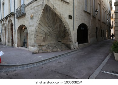 Beautiful Urban View Of The Corner Of An Old House Located At La Canourgue Place, In