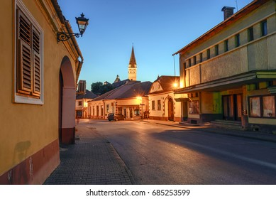 Urban view of Medias, Transylvania, Romania during twilight time