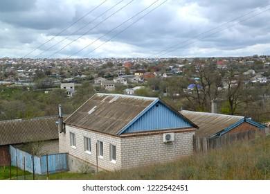Urban view with private low houses. Elista, Kalmykia