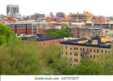 Urban view of South Harlem and Morningside Park from Morningside Drive in Morningside Heights neighborhood of Manhattan, New York City, United States