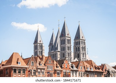 Urban View of Tournai with the Towers of Cathedral and Apartment Roofs