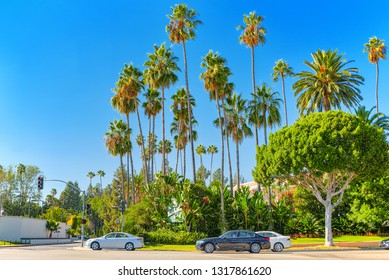 Urban views of the Beverly Hills area and residential buildings on the Hollywood hills. California. USA.