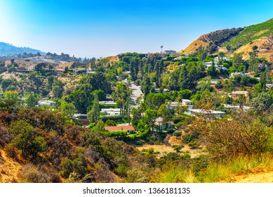 Urban views of the Beverly Hills area and residential buildings on the Hollywood hills. USA.