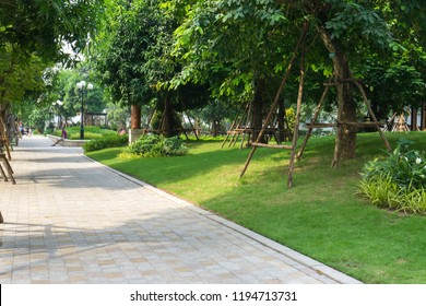 Urban walking road among green tree in modern apartment buildings in big city.