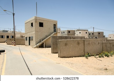 URBAN WARFARE TRAINING FACILITY, ISRAEL - JUNE 4, 2013: Abandoned Middle Eastern town. Derelict city, ruined in battles. Bombed city, war scene, neglected street & buildings. Counter terror training.