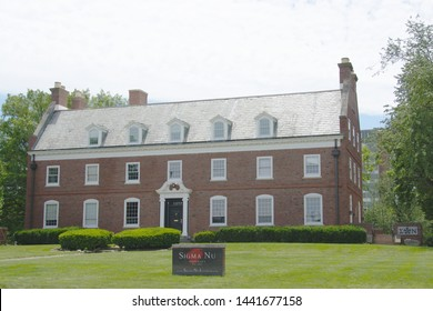 Urbana, IL - June 28, 2019: The Sigma Nu Fraternity house on the campus of the University of Illinois in Chapmpaign-Urbana.
