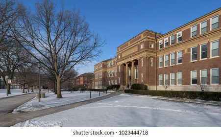 URBANA, ILLINOIS, USA - FEBRUARY 8: The Old Agriculture Building, or Davenport Hall in winter on the campus of the University of Illinois at Urbana-Champaign in Urbana, Illinois on February 8, 2018