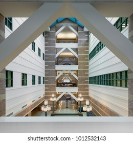 URBANA, ILLINOIS/USA - JANUARY 24, 2018: Lobby of the Beckman Institute for Advanced Science and Technology on the campus of the University of Illinois at Urbana-Champaign
