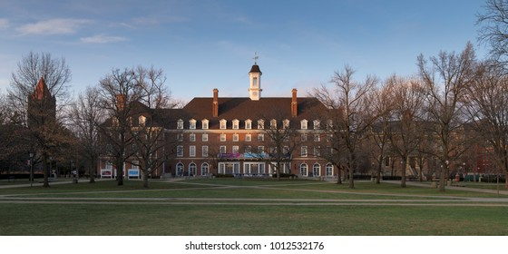 URBANA, ILLINOIS/USA - JANUARY 24, 2018: Illini Union and Quad on the campus of the University of Illinois at Urbana-Champaign in Urbana, Illinois