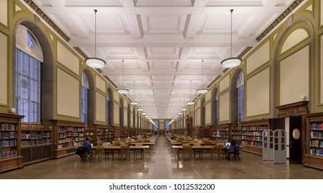 URBANA, ILLINOIS/USA - JANUARY 24, 2018: Reading Room in the Main Library (built in 1924) on the campus of the University of Illinois at Urbana-Champaign