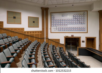 URBANA, ILLINOIS/USA - JANUARY 24, 2018: G.L. Clark lecture hall in the Noyes Laboratory of Chemistry building (built in 1902) on the campus of the University of Illinois at Urbana-Champaign