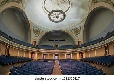 URBANA, ILLINOIS/USA - JANUARY 25, 2018: Interior of the Foellinger Auditorium (opened in 1907) on the campus of the University of Illinois at Urbana-Champaign