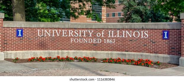 URBANA, IL/USA - JUNE 2, 2018. Entrance sign to the University of Illinois at Urbana–Champaign, a public research university in the U.S. state of Illinois.