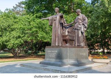 URBANA, IL/USA - JUNE 2, 2018: The Alma Mater statue by sculptor Lorado Taft on the campus of the University of Illinois at Urbana–Champaign.
