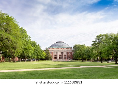 URBANA, IL/USA - JUNE 2, 2018: Observatory Hall on the campus of the University of Illinois at Urbana–Champaign.