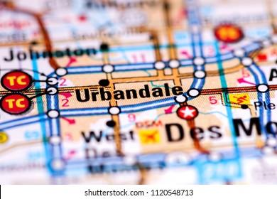 Urbandale. Iowa. USA on a map